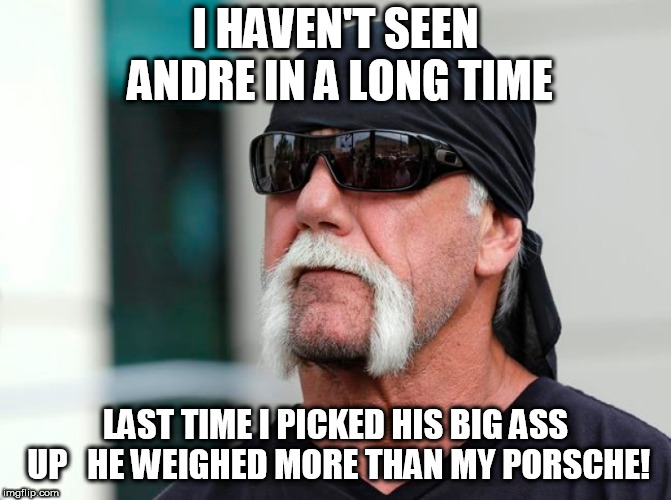 I HAVEN'T SEEN ANDRE IN A LONG TIME LAST TIME I PICKED HIS BIG ASS UP   HE WEIGHED MORE THAN MY PORSCHE! | made w/ Imgflip meme maker