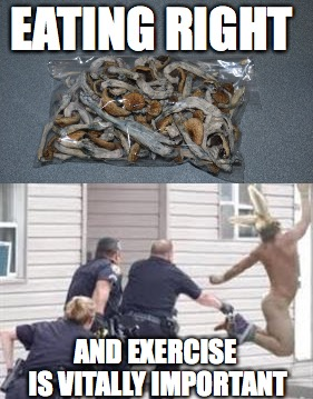 Eating right and exercise | EATING RIGHT AND EXERCISE IS VITALLY IMPORTANT | image tagged in magic mushrooms,cops | made w/ Imgflip meme maker