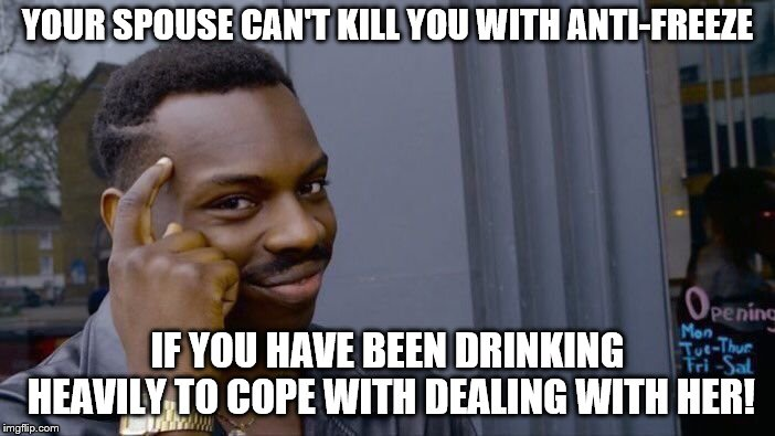 Alcohol is the Antidote | YOUR SPOUSE CAN'T KILL YOU WITH ANTI-FREEZE IF YOU HAVE BEEN DRINKING HEAVILY TO COPE WITH DEALING WITH HER! | image tagged in memes,roll safe think about it | made w/ Imgflip meme maker