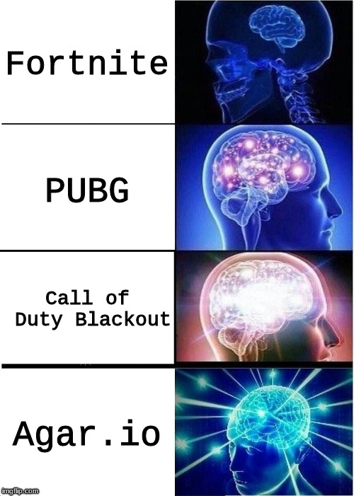 Battle Royale | Fortnite PUBG Call of Duty Blackout Agar.io | image tagged in memes,expanding brain,battle royale,fortnite,pubg,blackout | made w/ Imgflip meme maker