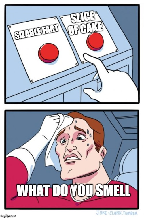 Two Buttons Meme | SIZABLE FART SLICE OF CAKE WHAT DO YOU SMELL | image tagged in memes,two buttons | made w/ Imgflip meme maker