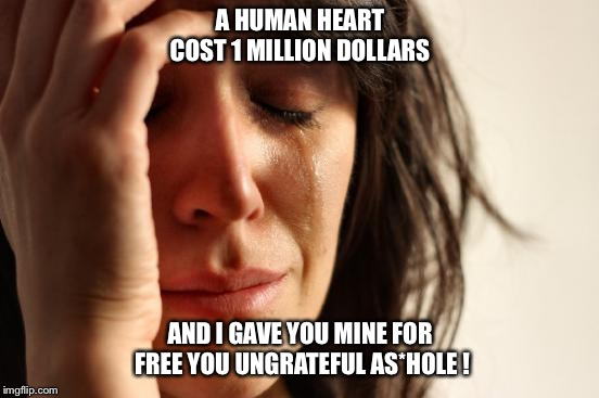 First World Problems Meme | A HUMAN HEART COST 1 MILLION DOLLARS AND I GAVE YOU MINE FOR FREE YOU UNGRATEFUL AS*HOLE ! | image tagged in memes,first world problems,broken heart,cheated,betrayal | made w/ Imgflip meme maker