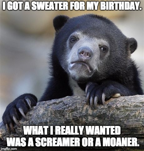 Confession Bear Meme | I GOT A SWEATER FOR MY BIRTHDAY. WHAT I REALLY WANTED WAS A SCREAMER OR A MOANER. | image tagged in memes,confession bear | made w/ Imgflip meme maker