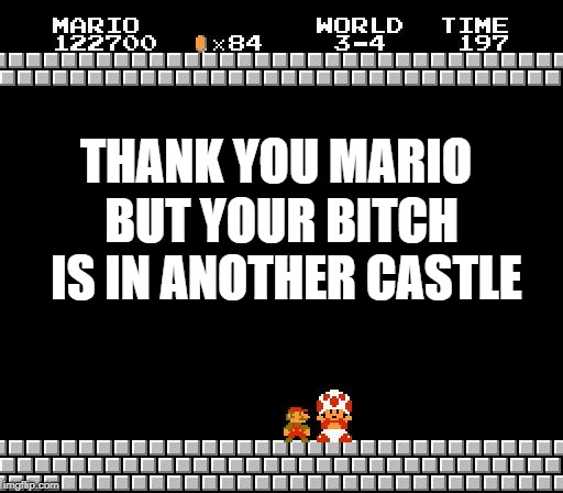 Thank You Mario | THANK YOU MARIO BUT YOUR B**CH IS IN ANOTHER CASTLE | image tagged in thank you mario | made w/ Imgflip meme maker