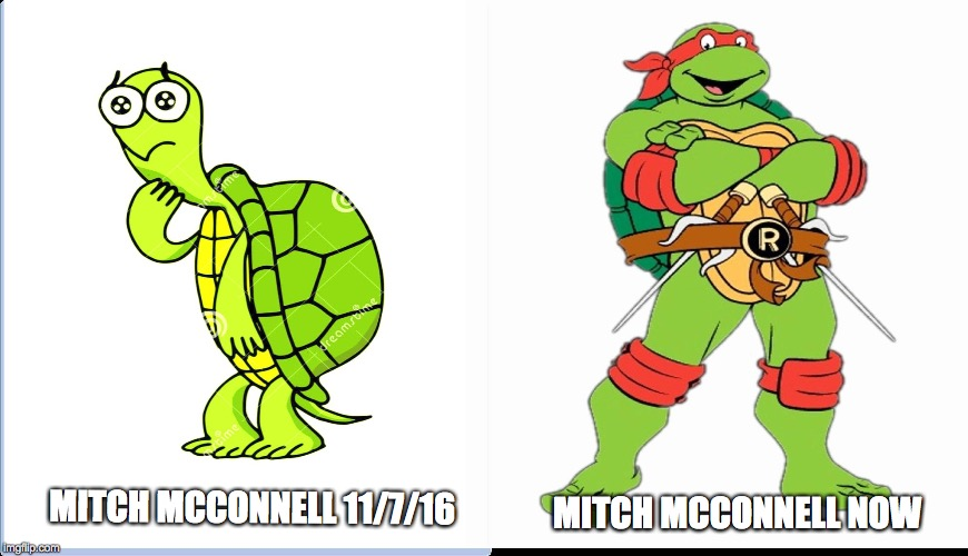 MITCH MCCONNELL NOW; MITCH MCCONNELL 11/7/16 | image tagged in mitch mcconnell,thetrumpeffect | made w/ Imgflip meme maker