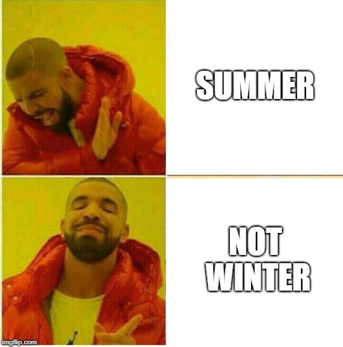 Drake Being Picky Over Weather | SUMMER NOT WINTER | image tagged in drake hotline approves,weather | made w/ Imgflip meme maker