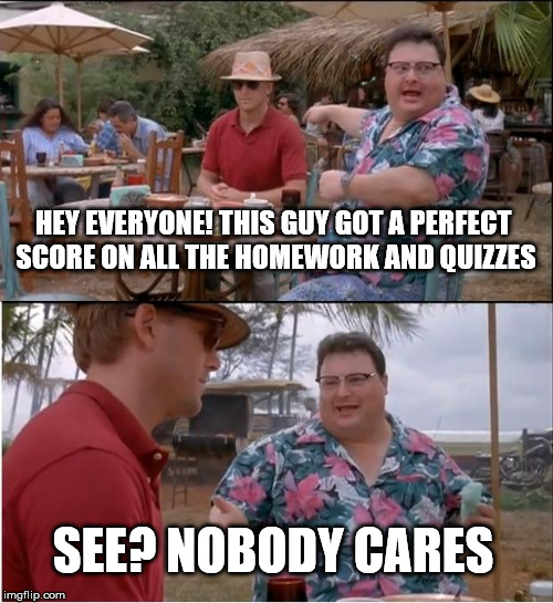 See Nobody Cares Meme | HEY EVERYONE! THIS GUY GOT A PERFECT SCORE ON ALL THE HOMEWORK AND QUIZZES SEE? NOBODY CARES | image tagged in memes,see nobody cares | made w/ Imgflip meme maker