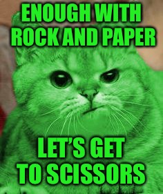 RayCat Annoyed | ENOUGH WITH ROCK AND PAPER LET'S GET TO SCISSORS | image tagged in raycat annoyed | made w/ Imgflip meme maker