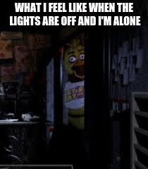 Chica Looking In Window FNAF | WHAT I FEEL LIKE WHEN THE LIGHTS ARE OFF AND I'M ALONE | image tagged in chica looking in window fnaf | made w/ Imgflip meme maker