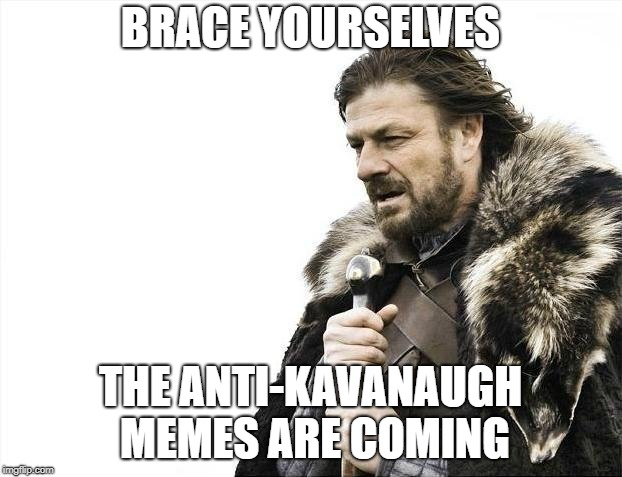 Brace Yourselves X is Coming | BRACE YOURSELVES THE ANTI-KAVANAUGH MEMES ARE COMING | image tagged in memes,brace yourselves x is coming,AdviceAnimals | made w/ Imgflip meme maker