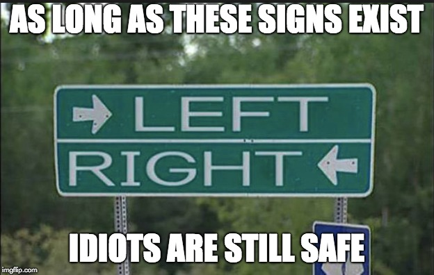 AS LONG AS THESE SIGNS EXIST IDIOTS ARE STILL SAFE | image tagged in haha | made w/ Imgflip meme maker