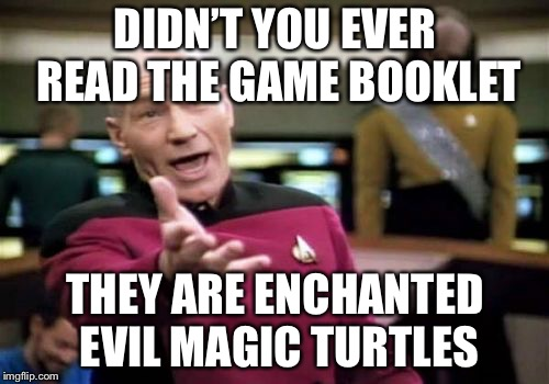 Picard Wtf Meme | DIDN'T YOU EVER READ THE GAME BOOKLET THEY ARE ENCHANTED EVIL MAGIC TURTLES | image tagged in memes,picard wtf | made w/ Imgflip meme maker