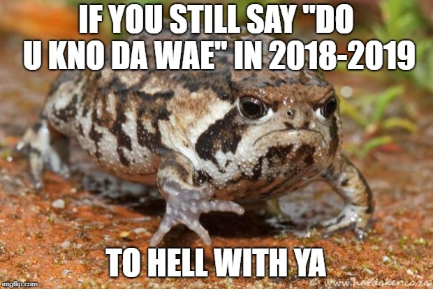 "Grumpy Toad | IF YOU STILL SAY ""DO U KNO DA WAE"" IN 2018-2019 TO HELL WITH YA 