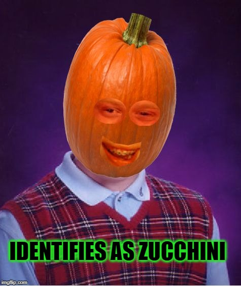 Bad Luck Pumpkin | IDENTIFIES AS ZUCCHINI | image tagged in bad luck pumpkin,vegetables,pumpkin,gender,bad luck brian,food | made w/ Imgflip meme maker