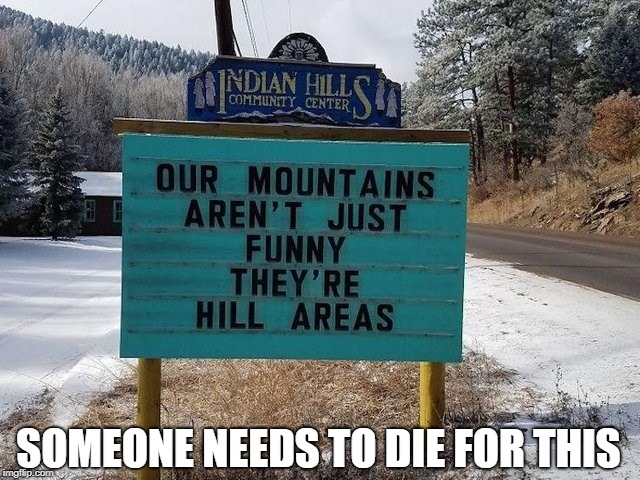 Who even thought this was a good idea? | SOMEONE NEEDS TO DIE FOR THIS | image tagged in memes,bad puns,mountain,signs,signs/billboards | made w/ Imgflip meme maker