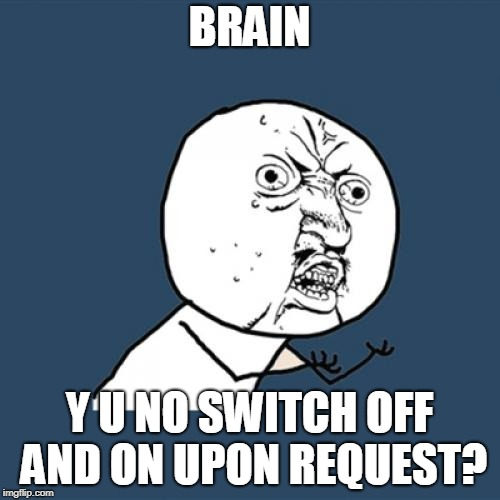 Y U No Meme | BRAIN Y U NO SWITCH OFF AND ON UPON REQUEST? | image tagged in memes,y u no | made w/ Imgflip meme maker