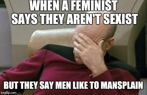 Feminazis plz stop | WHEN A FEMINIST SAYS THEY AREN'T SEXIST BUT THEY SAY MEN LIKE TO MANSPLAIN | image tagged in memes,captain picard facepalm,feminist,feminazi,mansplaining,sexist | made w/ Imgflip meme maker
