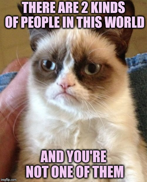 Grumpy Cat week , what species are you ? | THERE ARE 2 KINDS OF PEOPLE IN THIS WORLD AND YOU'RE NOT ONE OF THEM | image tagged in memes,grumpy cat,humanity,its not going to happen,stop reading the tags,mine | made w/ Imgflip meme maker