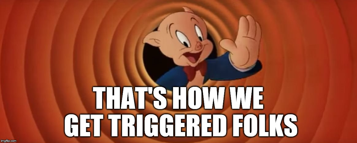 Porky Pig That's All Folks | THAT'S HOW WE GET TRIGGERED FOLKS | image tagged in porky pig that's all folks | made w/ Imgflip meme maker
