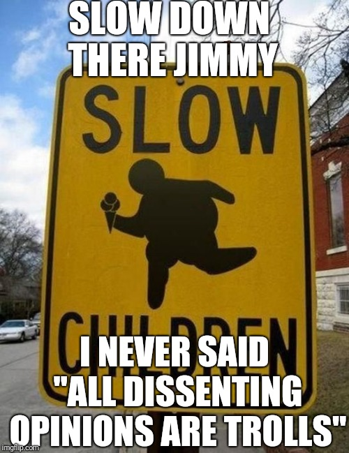 "slow children | SLOW DOWN THERE JIMMY I NEVER SAID ""ALL DISSENTING OPINIONS ARE TROLLS"" 