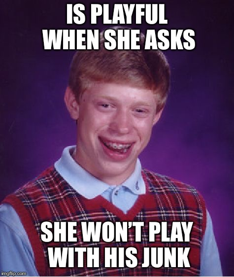 Bad Luck Brian Meme | IS PLAYFUL WHEN SHE ASKS SHE WON'T PLAY WITH HIS JUNK | image tagged in memes,bad luck brian | made w/ Imgflip meme maker