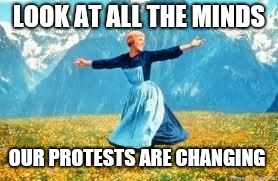Look At All These | LOOK AT ALL THE MINDS OUR PROTESTS ARE CHANGING | image tagged in memes,look at all these | made w/ Imgflip meme maker