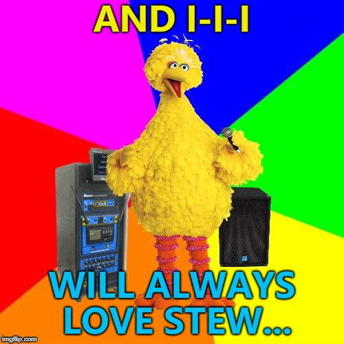 Big Bird needs to listen better... :) | AND I-I-I WILL ALWAYS LOVE STEW... | image tagged in wrong lyrics karaoke big bird,memes,music | made w/ Imgflip meme maker