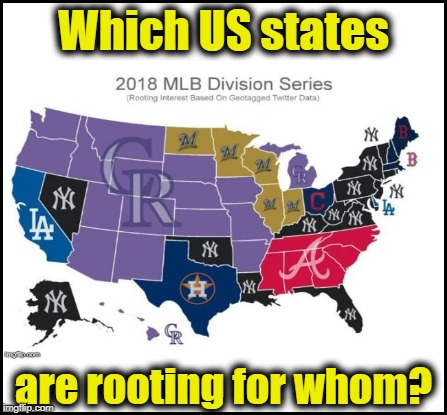 In case you're an MLB (Major League Baseball) fan | Which US states are rooting for whom? | image tagged in colorado rockies highly liked,new york yankees close second | made w/ Imgflip meme maker