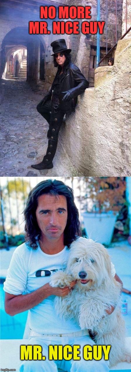 The two sides of Alice Cooper | NO MORE MR. NICE GUY MR. NICE GUY | image tagged in alice cooper,nice guy,in real life,memes,rock music | made w/ Imgflip meme maker