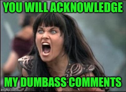 Angry Xena | YOU WILL ACKNOWLEDGE MY DUMBASS COMMENTS | image tagged in angry xena | made w/ Imgflip meme maker