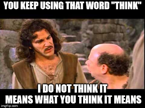 "Inigo Montoya |  YOU KEEP USING THAT WORD ""THINK""; I DO NOT THINK IT MEANS WHAT YOU THINK IT MEANS 