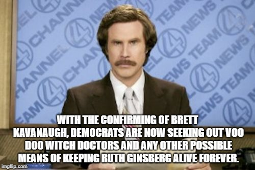 Ron Burgundy | WITH THE CONFIRMING OF BRETT KAVANAUGH, DEMOCRATS ARE NOW SEEKING OUT VOO DOO WITCH DOCTORS AND ANY OTHER POSSIBLE MEANS OF KEEPING RUTH GIN | image tagged in memes,ron burgundy | made w/ Imgflip meme maker