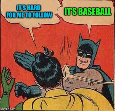 Batman Slapping Robin Meme | IT'S HARD FOR ME TO FOLLOW IT'S BASEBALL | image tagged in memes,batman slapping robin | made w/ Imgflip meme maker