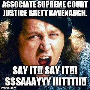 Sam kinison | ASSOCIATE SUPREME COURT JUSTICE BRETT KAVENAUGH. SAY IT!! SAY IT!!! SSSAAAYYY IIITTT!!!! | image tagged in sam kinison | made w/ Imgflip meme maker