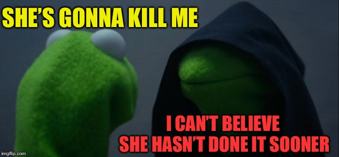 Evil Kermit Meme | SHE'S GONNA KILL ME I CAN'T BELIEVE SHE HASN'T DONE IT SOONER | image tagged in memes,evil kermit | made w/ Imgflip meme maker