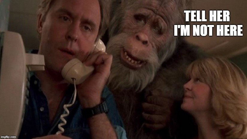 TELL HER I'M NOT HERE | image tagged in bigfoot | made w/ Imgflip meme maker