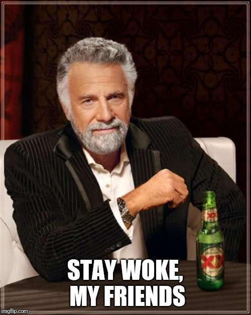 The Most Interesting Man In The World |  STAY WOKE, MY FRIENDS | image tagged in memes,the most interesting man in the world | made w/ Imgflip meme maker