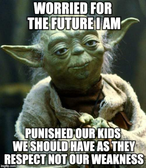 Star Wars Yoda Meme | WORRIED FOR THE FUTURE I AM PUNISHED OUR KIDS WE SHOULD HAVE AS THEY RESPECT NOT OUR WEAKNESS | image tagged in memes,star wars yoda | made w/ Imgflip meme maker