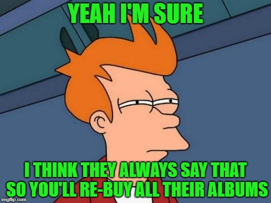 Futurama Fry Meme | YEAH I'M SURE I THINK THEY ALWAYS SAY THAT SO YOU'LL RE-BUY ALL THEIR ALBUMS | image tagged in memes,futurama fry | made w/ Imgflip meme maker