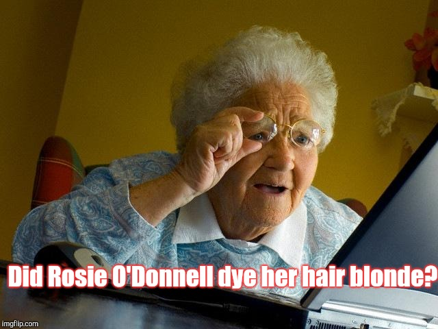 Grandma Finds The Internet Meme | Did Rosie O'Donnell dye her hair blonde? | image tagged in memes,grandma finds the internet | made w/ Imgflip meme maker