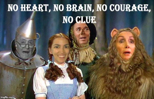 image tagged in wizard of oz,nancy pelosi,chuck schumer,alexandria ocasio-cortez | made w/ Imgflip meme maker