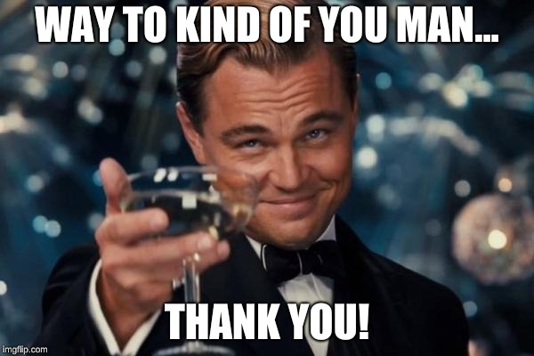 Leonardo Dicaprio Cheers Meme | WAY TO KIND OF YOU MAN... THANK YOU! | image tagged in memes,leonardo dicaprio cheers | made w/ Imgflip meme maker