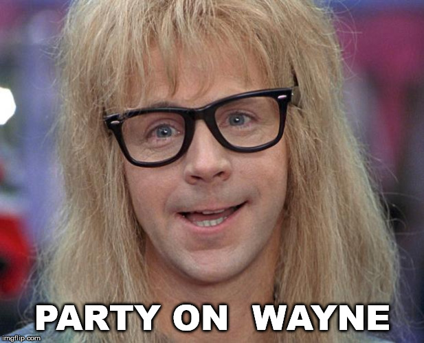 GARTH | PARTY ON  WAYNE | image tagged in garth | made w/ Imgflip meme maker