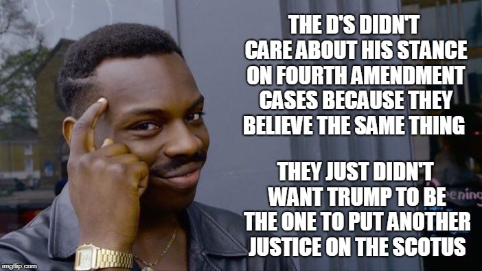 Roll Safe Think About It Meme | THE D'S DIDN'T CARE ABOUT HIS STANCE ON FOURTH AMENDMENT CASES BECAUSE THEY BELIEVE THE SAME THING THEY JUST DIDN'T WANT TRUMP TO BE THE ONE | image tagged in memes,roll safe think about it | made w/ Imgflip meme maker