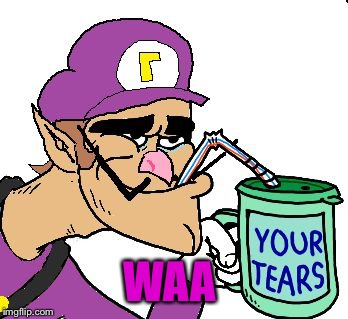Waluigi Drinking Tears | WAA | image tagged in waluigi drinking tears | made w/ Imgflip meme maker