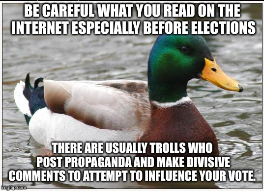 Actual Advice Mallard Meme | BE CAREFUL WHAT YOU READ ON THE INTERNET ESPECIALLY BEFORE ELECTIONS THERE ARE USUALLY TROLLS WHO POST PROPAGANDA AND MAKE DIVISIVE COMMENTS | image tagged in memes,actual advice mallard,AdviceAnimals | made w/ Imgflip meme maker