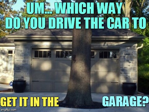 Bad Construction Week Oct 1-7 a DrSarcasm event | UM... WHICH WAY DO YOU DRIVE THE CAR TO GET IT IN THE GARAGE? | image tagged in memes,bad construction week,garage,tree,in,front | made w/ Imgflip meme maker