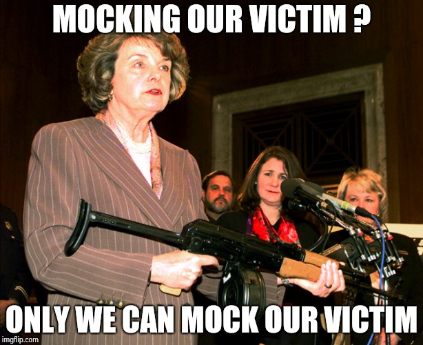 Diane Feinstein AK47 | MOCKING OUR VICTIM ? ONLY WE CAN MOCK OUR VICTIM | image tagged in diane feinstein ak47 | made w/ Imgflip meme maker