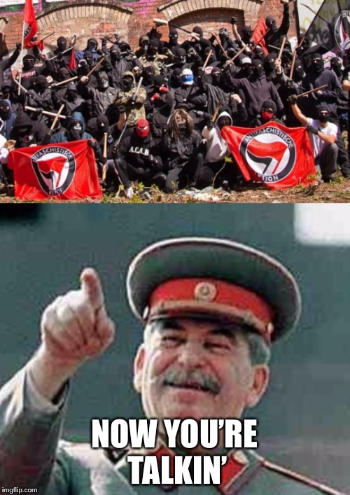 Antifa Stalin | NOW YOU'RE TALKIN' | image tagged in antifa stalin | made w/ Imgflip meme maker