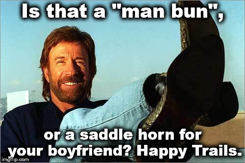 "Chuck Norris Says | Is that a ""man bun"", or a saddle horn for your boyfriend? Happy Trails. 